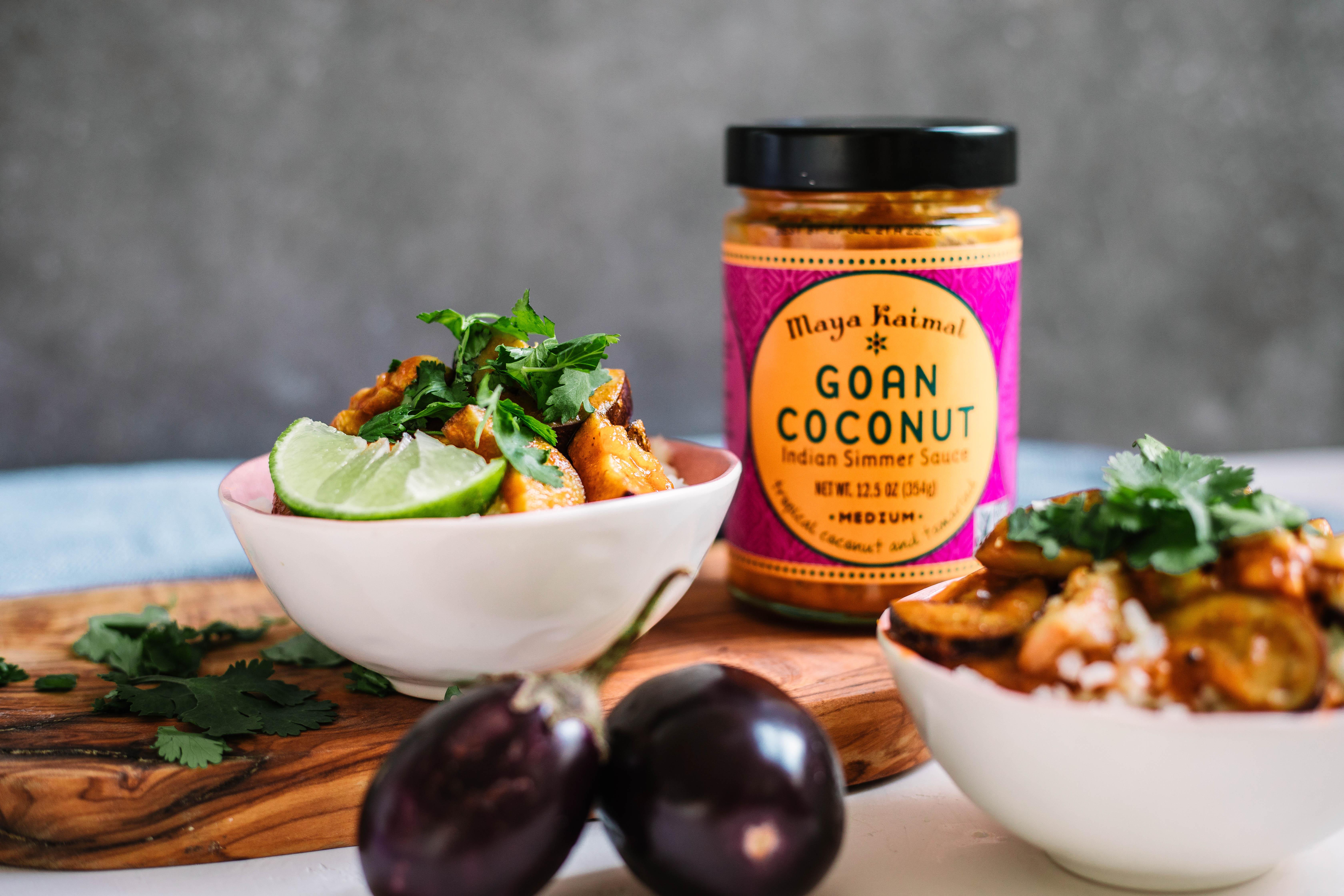 Crispy Goan Coconut Chicken & Eggplant With Cauliflower Rice