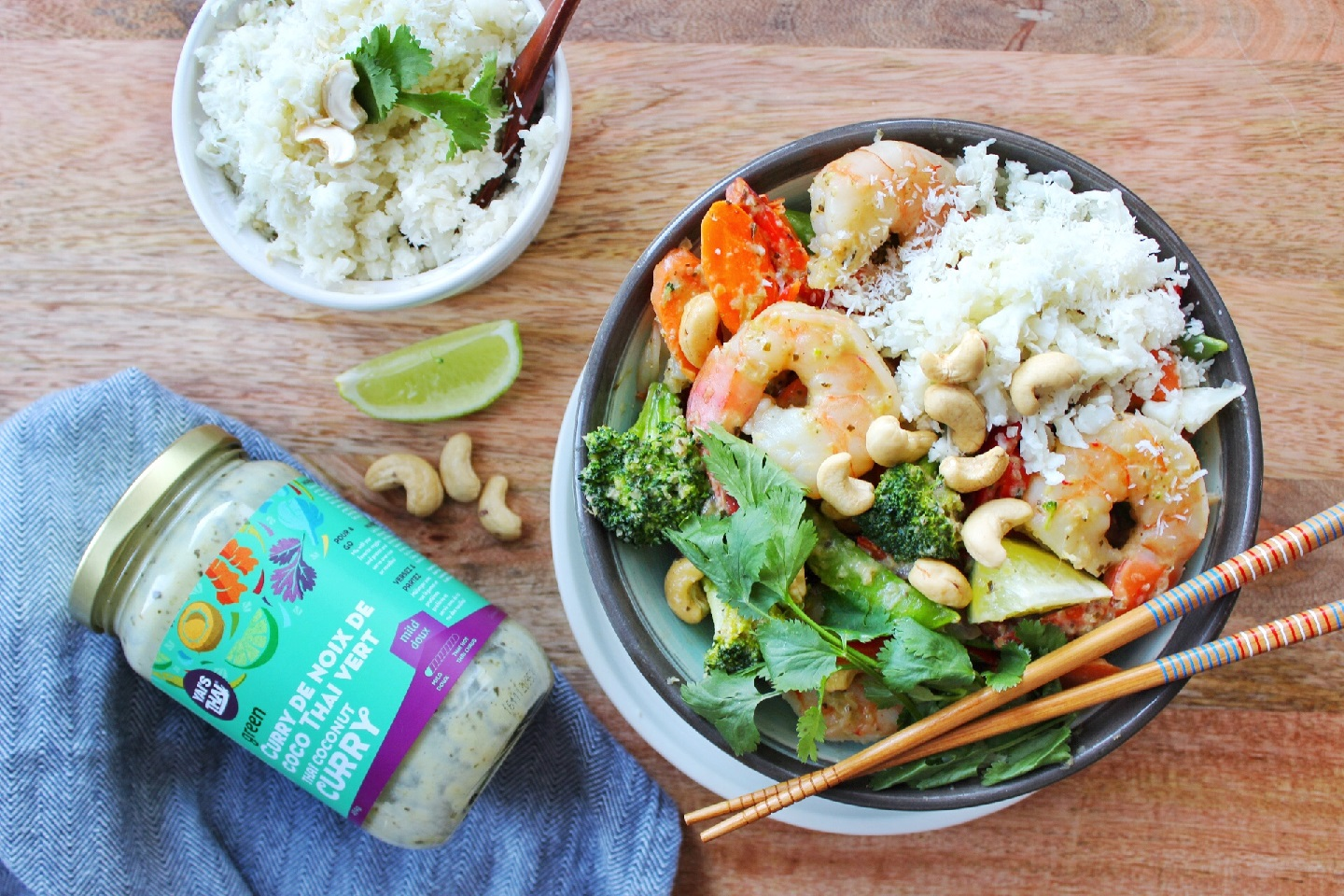 Thai Green Curry Stir-fry with Shrimp and Coconut Cauliflower Rice